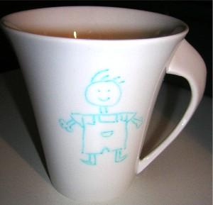 tasse porcelaine dessin petit garçon