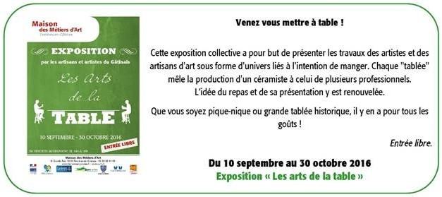 """Exposition """"Les Arts de la Table"""" à la Maison des Métiers d'Art de Ferrières-en-Gâtinais du 10 Septembre au 30 Octobre 2016"""